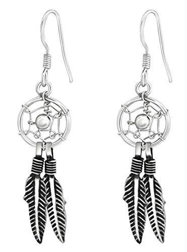 Best Wing Jewelry - Pendientes de gancho de plata de ley 925 con diseño de atrapasueños