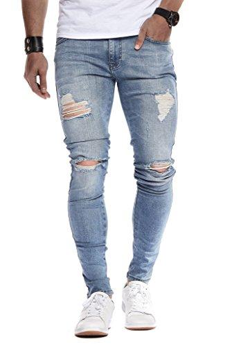 Leif Nelson Herren Jeans Hose Slim Fit Denim Blaue graue Lange Jeanshose für Männer Coole Jungen weiße Stretch Freizeithose Schwarze Cargo Chino Sommer Winter Basic LN9150 Hell Blau W32/L30
