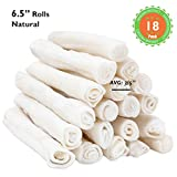 MON2SUN Dog Rawhide Rolls Natural Skinny Retriever Rolls 6.5 Inch 18 Count for Puppy and Small Dogs