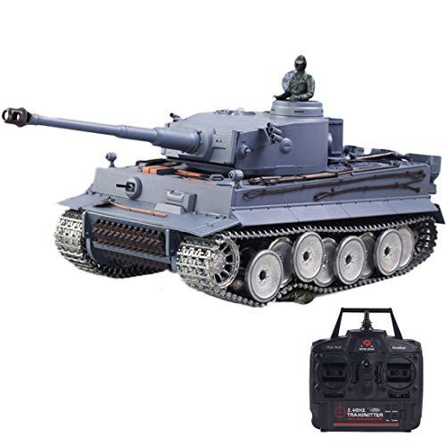 Vipo 1:16 Deutscher Tiger Panzer 2.4G Ferngesteuertes Panzer Tiger Heavy Tank Modell Metall Militärpanzer mit mit Ton-, Rauch- und Schießen