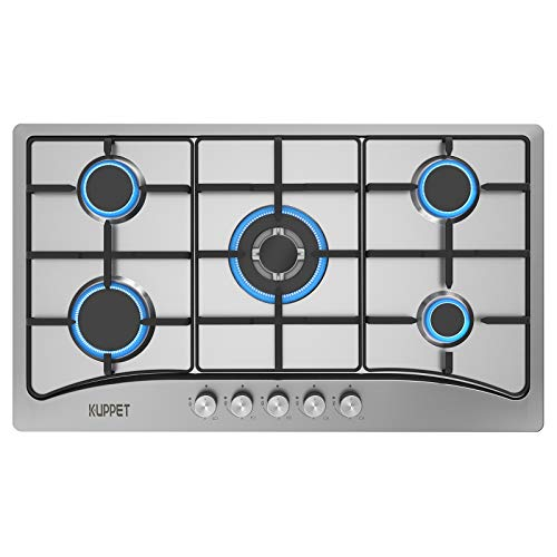 34 Inch Gas Cooktop, KUPPET QM5113 Gas Stove Cooktop with 5 Italy Sabaf Sealed Burners, Stainless Steel Cooktop Gas Hob, NG/LPG Convertible ETL Certified