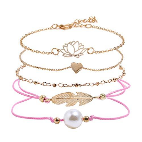FENICAL 5 piezas pulseras de aleación de perlas de loto huecas elegante hoja amorosa pulsera de corazón cuerda trenzada pulseras de aleación brazalete de cadena de muñeca para mujeres niñas