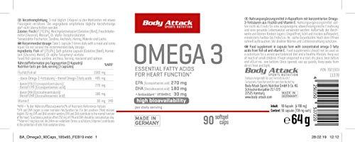 Body Attack Omega-3 Kapseln, 1er Pack (1x 90 Kapseln) Dose - 2