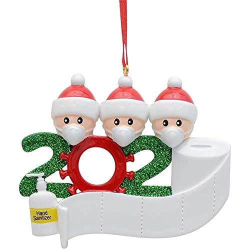 JAMAN 2020 Kit de adorno de Navidad personalizado con máscara, regalo creativo para familia sobreviviente cuarentena, bricolaje por ti mismo