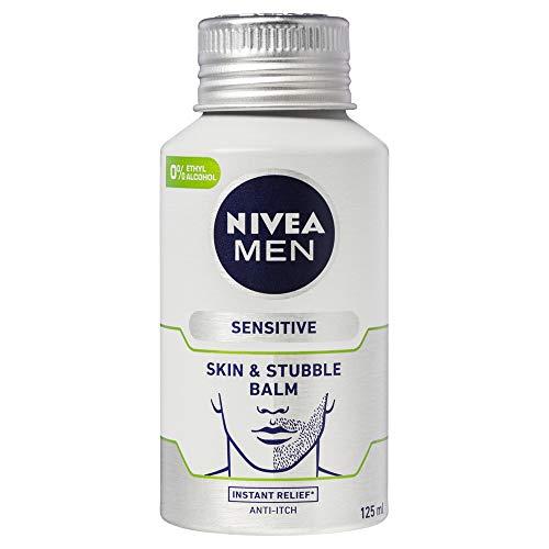 NIVEA MEN Sensitive Daily Skin & Stubble Balm (125ml), Moisturising Stubble Lotion with Chamomile and 0% Alcohol