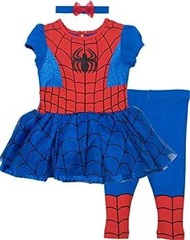 Marvel Spiderman and Captain America Girls  Costume Dress Leggings and Headband Set  0-6 Months Spiderman