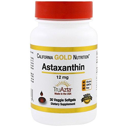 California Gold Nutrition Astaxanthin Extra Strength Antioxidant Carotenoid 12 mg 30 Veggie Softgels, Milk-Free, Egg-Free, Fish-Free, Gluten-Free, Peanut Free, Treenut Free, Shellfish Free, CGN