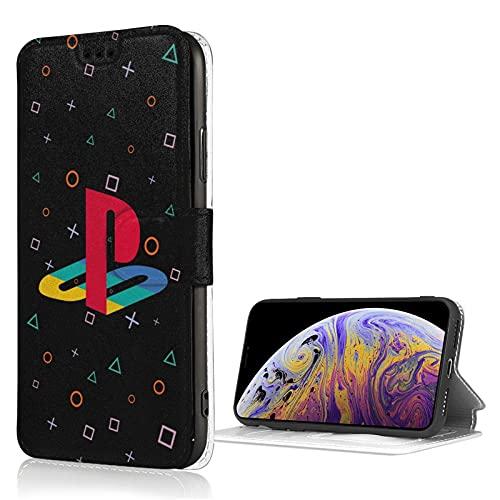 Play_Sta_Tion - Funda de piel sintética para iPhone X/Xs con ranura para tarjeta de mezclilla