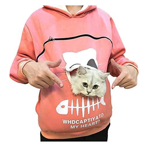Binggong Pullover Damen Langarmshirt mit Känguru Tasche für Haustier Hund Katze Halter,Frauen Katze Drucken Kapuzenpullover Lovely Hoodie