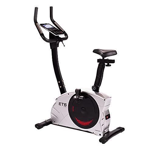 Christopeit Sport Ergometer ET 6 Pro – Bicicleta estática de 32 niveles de hasta 150 kg de peso corporal, sistema de freno por inducción, aplicación KinoMap
