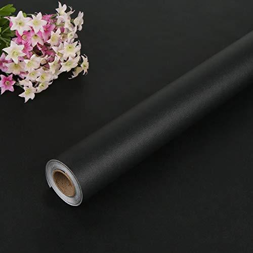 Schwarze Tapete Selbstklebende Tapete Abnehmbare Tapete Tapeten Abziehen und Aufkleben Kontakt Papier für Wohnzimmer Schlafzimmer Küchenschrank Tür Regal DIY und Weihnachtsgeschenk 40 * 500cm