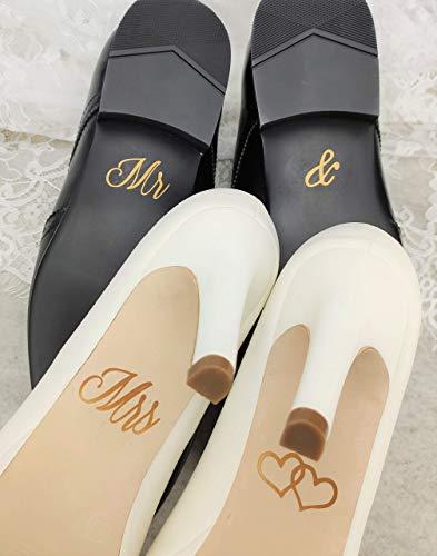 Schuhsticker Set'Mr & Mrs' mit Herzen - 13 Farben wählbar - Hochzeit Schuhaufkleber Farbe wählbar...