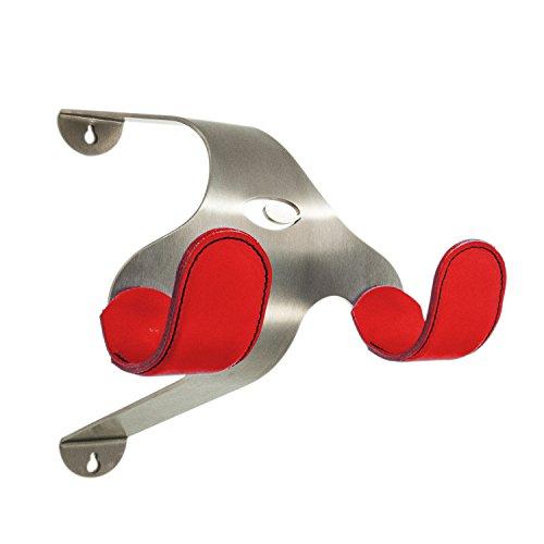 Cactus Tongue Fahrrad Wandhalterung mit Lederschoner/Lederüberzug SSL, Design Fahrradhalterung aus Einer Kombination aus Metall und Leder (Rot)