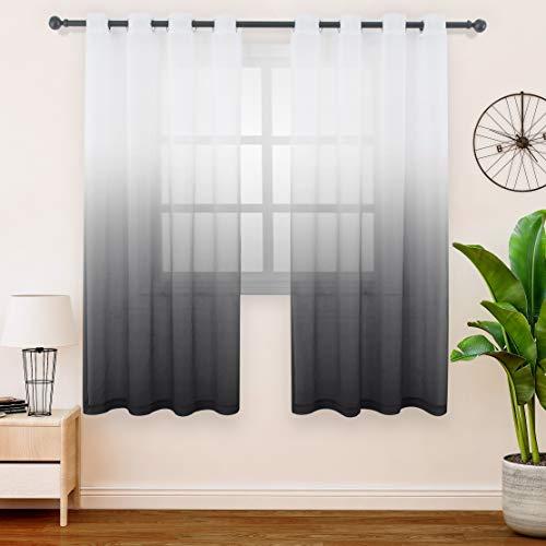 FLOWEROOM Gardinen/Vorhang Transparent Voile für Schlafzimmer und Wohnzimmer, 140 x 175 cm, Schwarz – Gardine Farbverlauf Fenster Vorhänge mit Ösen, Sheer Curtains 2er Set