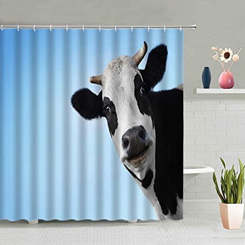 MUMUWUSG Duschvorhang 180X200Cm Blau Himmel Kühe Textil Shower Curtains Duschvorhänge Wasserdicht Antischimmel Waschbar Mit 12 Duschvorhangringen Für Badewanne Und Bathroom
