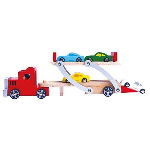 Bino & Mertens 84075 – biltransportör av trä i flera färger, 20 g, med justerbar på- och lastlampa och 4 personbilar och avtagbart släpvagn. Storlek ca 37,5 x 8,5 x 13,5 cm.