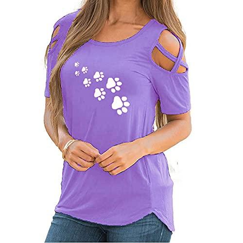 Mayntop Camiseta de verano para mujer de manga corta, con hombros descubiertos, cuello redondo, blusa, D-morado., 38