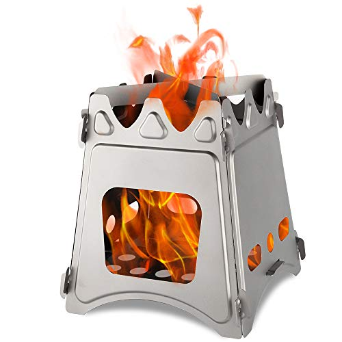 Acelane Camping Stove Wood Stove Folding Backpacking Stove Stainless Steel for Outdoor Camping Cooking Hiking Hunting Picnic BBQ Survival Packs Emergency Preparedness