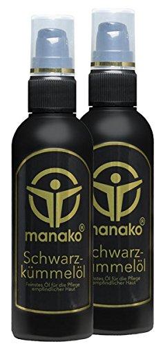 manako Schwarzkümmelöl (Hautöl/ Massageöl), 2 x 100 ml Kosmetikflasche (2 x 0,1 l)