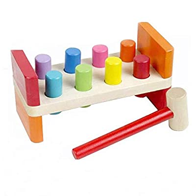 Axiba First Pounding Bench Peg Wooden Toy with Mallet Early Educational Games for Toddlers Kids (Pounding Toy)