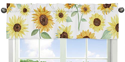 Sweet Jojo Designs Yellow, Green and White Sunflower Boho Floral Window Treatment Valance - Farmhouse Watercolor Flower