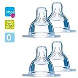 MAM Sauger 0 Gr. 0 feinste Sauglochgröße 4er Pack // speziell für Früh- und Neugeborene // ideal für Muttermilch & Pre-Nahrung