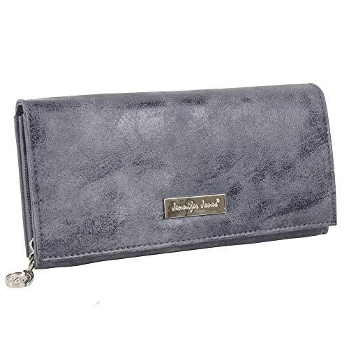 Damen Geldbörse groß günstig Portemonnaie Geldbeutel für Frauen viele Kartenfächer (Grau)