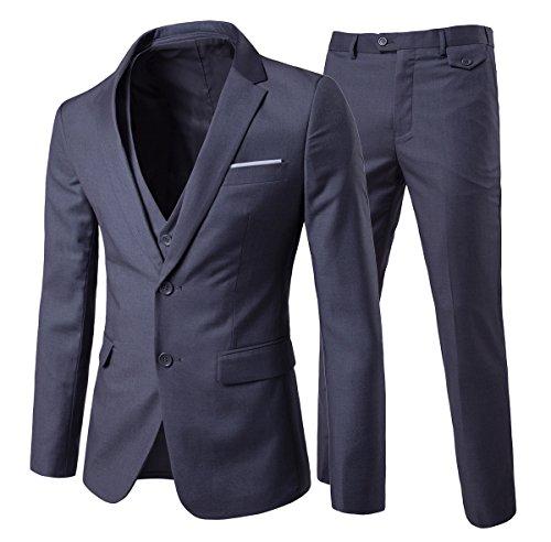 Traje de 3 piezas con chaqueta, chaleco y pantalones, hombre