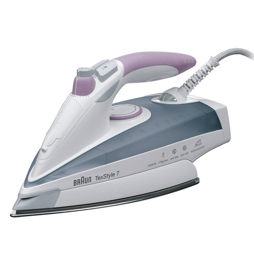 Braun TexStyle 7 TS 755 A Dry & Steam iron Saphir soleplate 2400W Violeta, Color blanco - Plancha (Dry & Steam iron, Saphir soleplate, 2,5 m, 200 g/min, Violeta, Color blanco, 50 g/min)