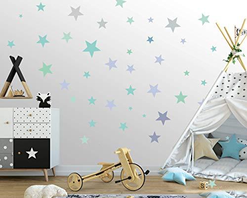 50 Sterne Wandtattoo fürs Kinderzimmer - Wandsticker Set - Pastell Farben, Baby Sternenhimmel zum Kleben Wandaufkleber Sticker Wanddeko - Kleinkinder, Erstausstattung auf Rauhfaser, Türkis