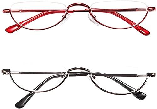 REAVEE 2 Pack Retro Designer Half Moon Reading Glasses Women Men Spring Hinge Half Frame Readers Stylish Slim Eyeglasses with Pouch,Red and Gun Grey 2.5