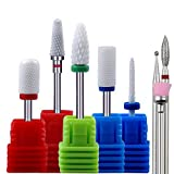 Nail Drill Bits for Acrylic Nails Ceramic Diamond by Aieil - 8PCS 3/32' Perfect for Polishing Manicure Pedicure Cuticle, Fit for Most Nail Drill Machine