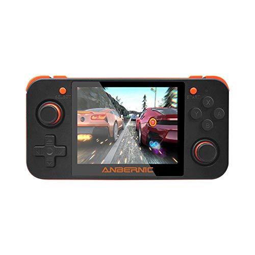 chivalrylist RG350 handheld gameconsole, 3,5 inch IPS-inch LCD-scherm draagbare retro videogames, ondersteunt het aansluiten op de tv-aansluiting en twee spelers voor kinderen en volwassenen/oranje
