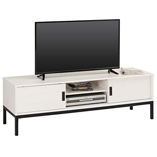 IDIMEX Lowboard TV Möbel Selma, Fernsehtisch Fernsehschrank im Industrial Design mit 2 Schiebetüren 1 offenes Fach, Kiefer massiv, weiß