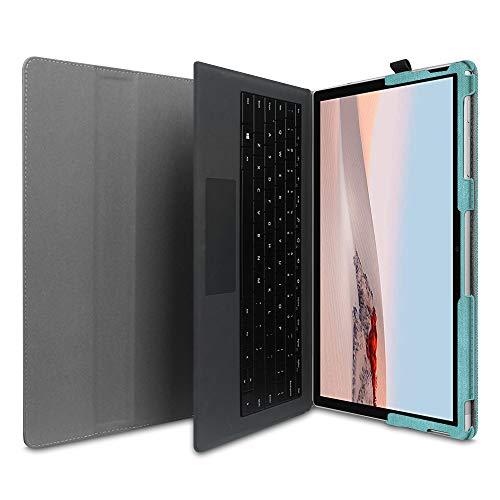 Fintie Hülle für Surface Go 2 2020 / Surface go 2018 10 Zoll Tablet - [Multi-Sichtwinkel] Hochwertige Kunstleder Schutzhülle Tasche Etui Cover Case mit Stylus-Halterung, Jeansoptik Türkis
