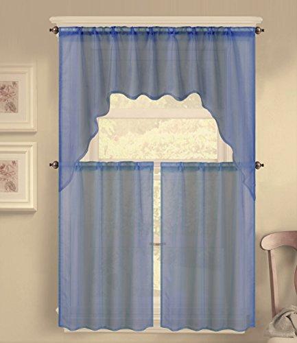 GorgeousHomeLinen (K66) 3 Piece Voile Rod Pocket Window Kitchen Sheer Curtain Set 2 Tier Panels & 1 Swag Valance, Various Solid Colors (Navy Blue)