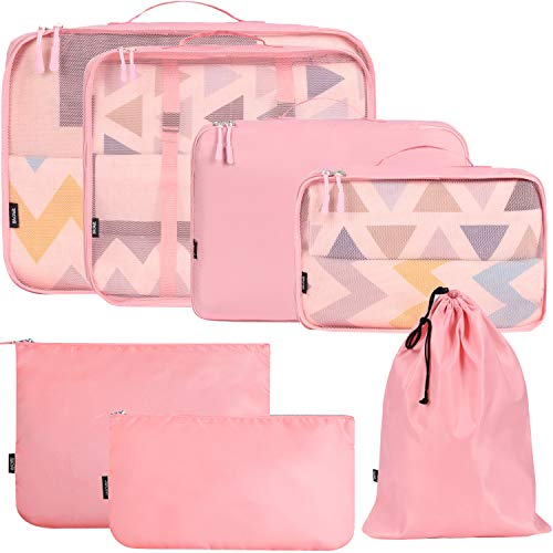 BAGAIL 7 Set / 8 Set Packing Cubes Luggage Packing Organizers for Travel Accessories(7 Set Pink)