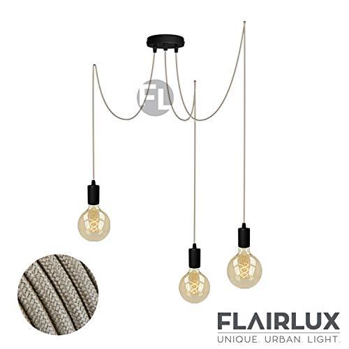 Pendelleuchte schwarz metall 3 flammig DIY E27 mit Textilkabel höhenverstellbar Deckenleuchte Vintage Lampe Retro elegantes Design für Ihre Wohnung. (Beige, 3 x 2 Meter)
