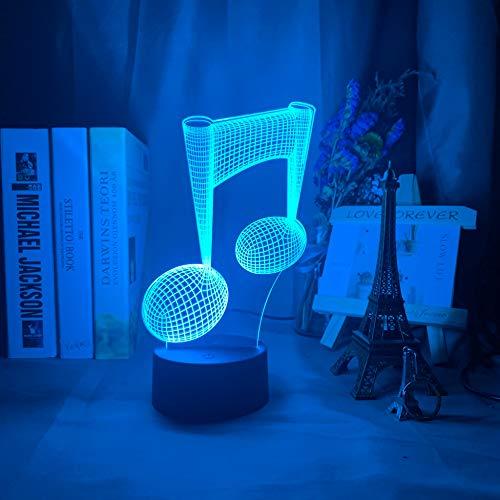 Acrílico 3D ilusión bebé luz de noche nota musical Holograma Nightlight Led Touch Sensor colorido USB batería lámpara de noche