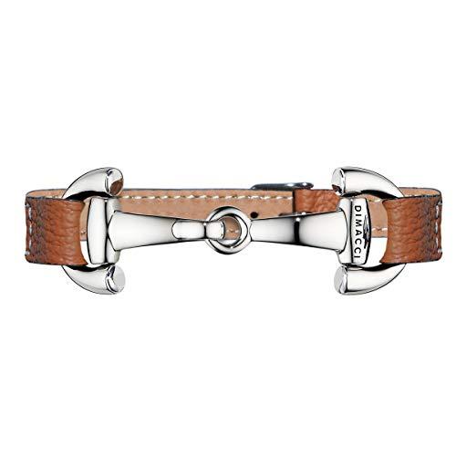 DIMACCI Trensen-Armband | ALBA PUR (Cognac, Edelstahl versilbert)