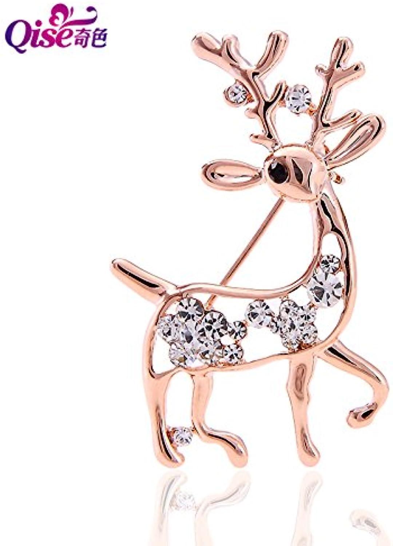 Odd color Cute Deer Diamond Brooch pin Badge Retro Women Girls Models Corsage Preferred Gift Boxes