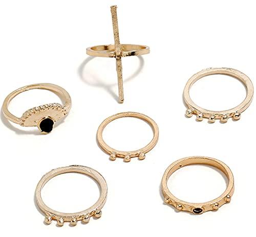 Juego de 6 anillos para nudillos apilables, apilables para mujer