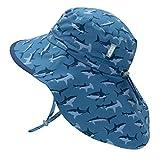 Jan & Jul Toddler Sun Hat for Girls Boys, 50+ UPF, Quick Dry (S: 0-6 Months, Shark with Navy Trim)