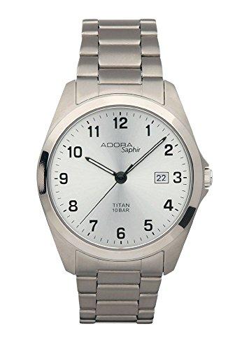 Herrenuhr Armbanduhr Analoguhr Titan mit Saphirglas Adora Saphir 28412