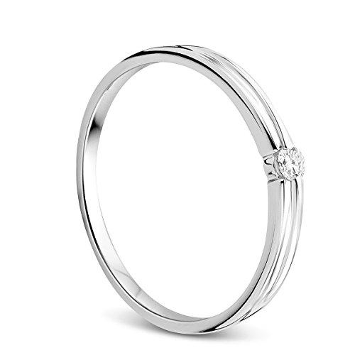 Orovi Ring für Damen Schmuck Weißgold 9 Karat/ 375 Gold Diamant Solitär VerlobungsRing mit Diamant Brillant 0.05 ct