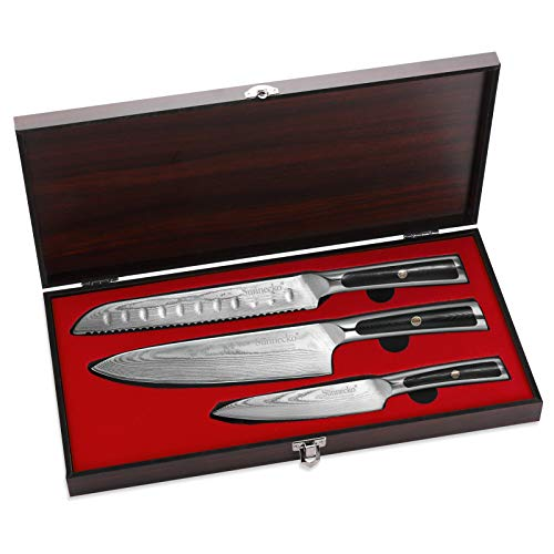 Sunnecko Messersets Damastmesser 3-TLG 20cm Kochmesser + Brotmesser + Allzweckmesser Damast Messerset - Japanischer VG10 Cored&73-Schichten Damaststahl Klinge G10 Griff Scharfes Messer Set