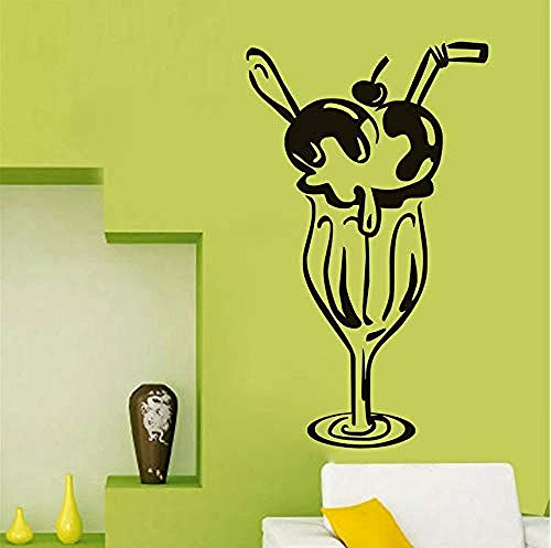 Persoonlijkheid Muursticker Kers IJs Glas Moderne Applique Restaurant Sticker Poster Vinyl Lijm Plakken Muursticker Art Deco Mural Cake Sticker Afneembare 43X72Cm