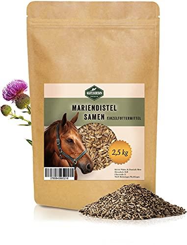Martenbrown® 2,5 kg Mariendistelsamen zur Leberentgiftung & Stoffwechsel Kur bei Pferden, Hunden & Katzen - ganze Mariendistel Samen ohne Zusatzstoffe - 100% Naturprodukt