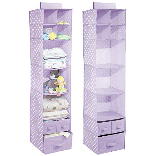 mDesign Soft Fabric Over Closet Rod Hanging Storage Organizer with 7 Shelves and 3 Removable Drawers for Child/Kids Room or Nursery - Polka Dot Pattern - 2 Pack - Light Purple/White Polka Dots