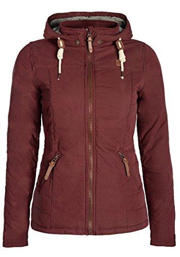 DESIRES Lewy Damen Übergangsjacke Steppjacke leichte Jacke gefüttert mit Kapuze und Stehkragen, Größe:L, Farbe:Wine Red (0985)
